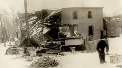 The Oland Brewery in Dartmouth was wrecked by the explosion. Inlaid photo courtesy Nova Scotia Archives.