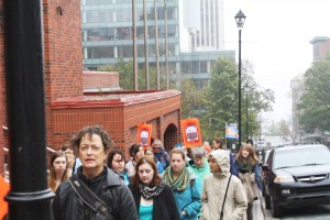 People march in support of missing aboriginal women.