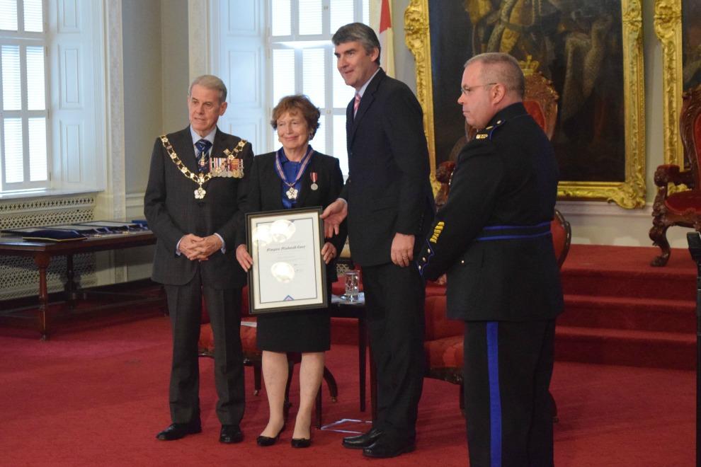 Doctor Margaret Macdonald Casey, with Lieutenant Governor JJ Grant and Premier Stephen MacNeil