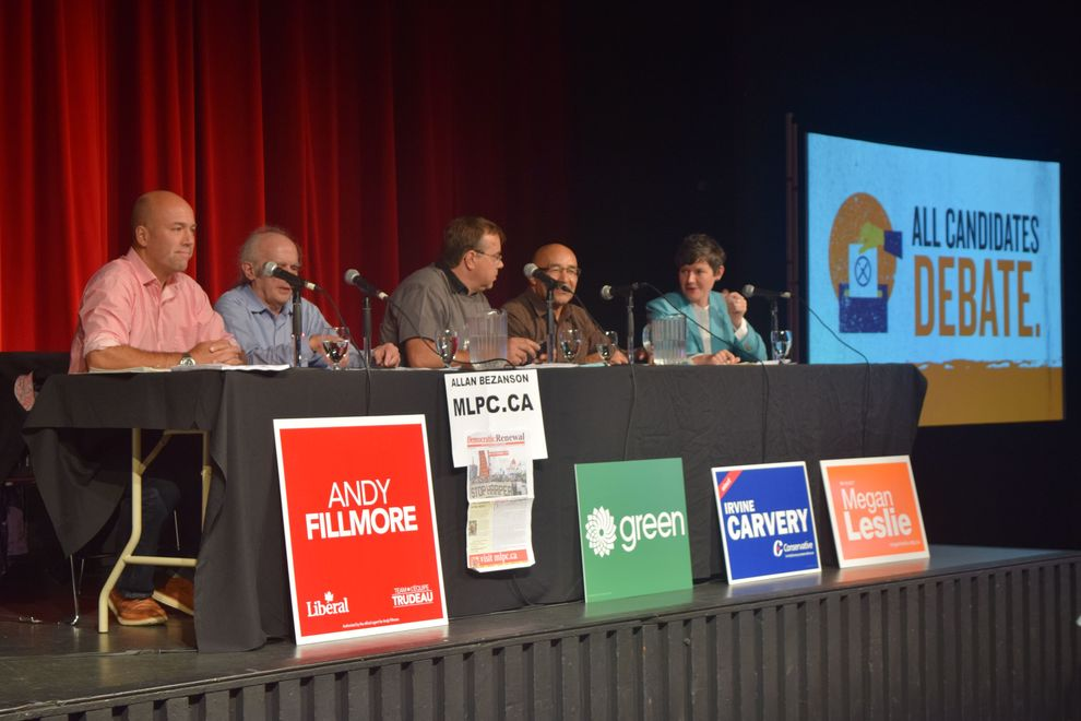 Liberal candidate Andy Fillmore, Marxist-Leninist candidate Allan Bezanson, Green Party candidate Thomas Trappenberg, Conservative candidate Irvine Carvery, and NDP candidate Megan Leslie (left to right) during tonight's debate.