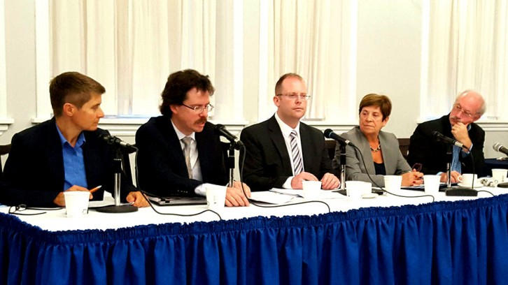 Catherine Tully, Sean Murray, Steve Kent, Maria Lasheras and Toby Mendel at a panel discussion Monday at Halifax City Hall