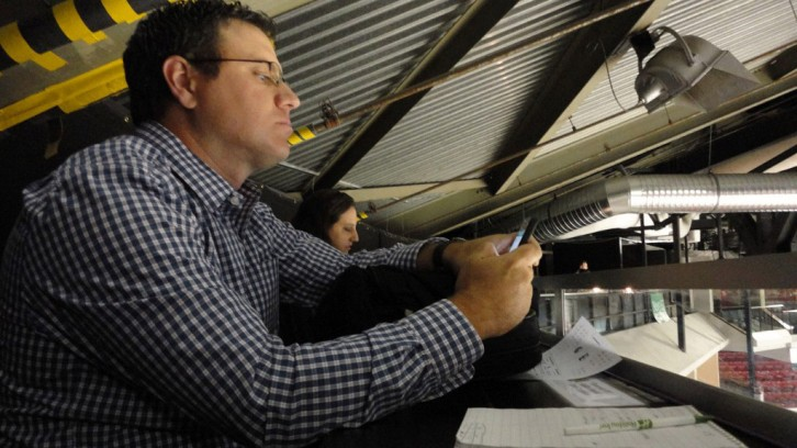 Chronicle Herald reporter Willy Palov in the press box.