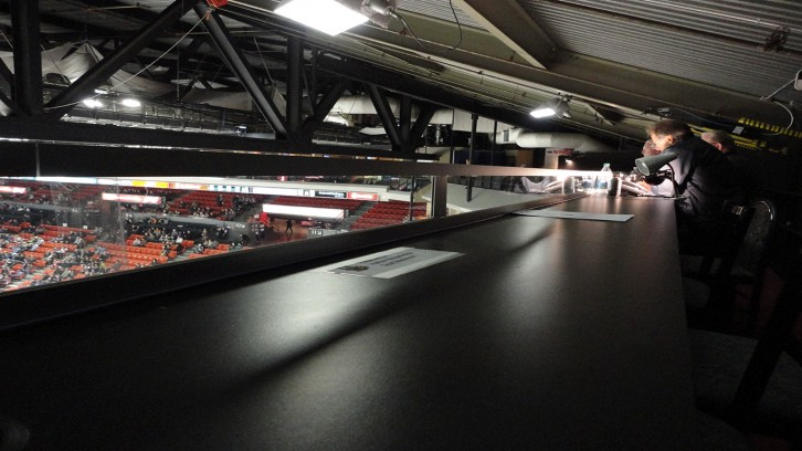 Press box at the Scotiabank Centre in Halifax, Nova Scotia.