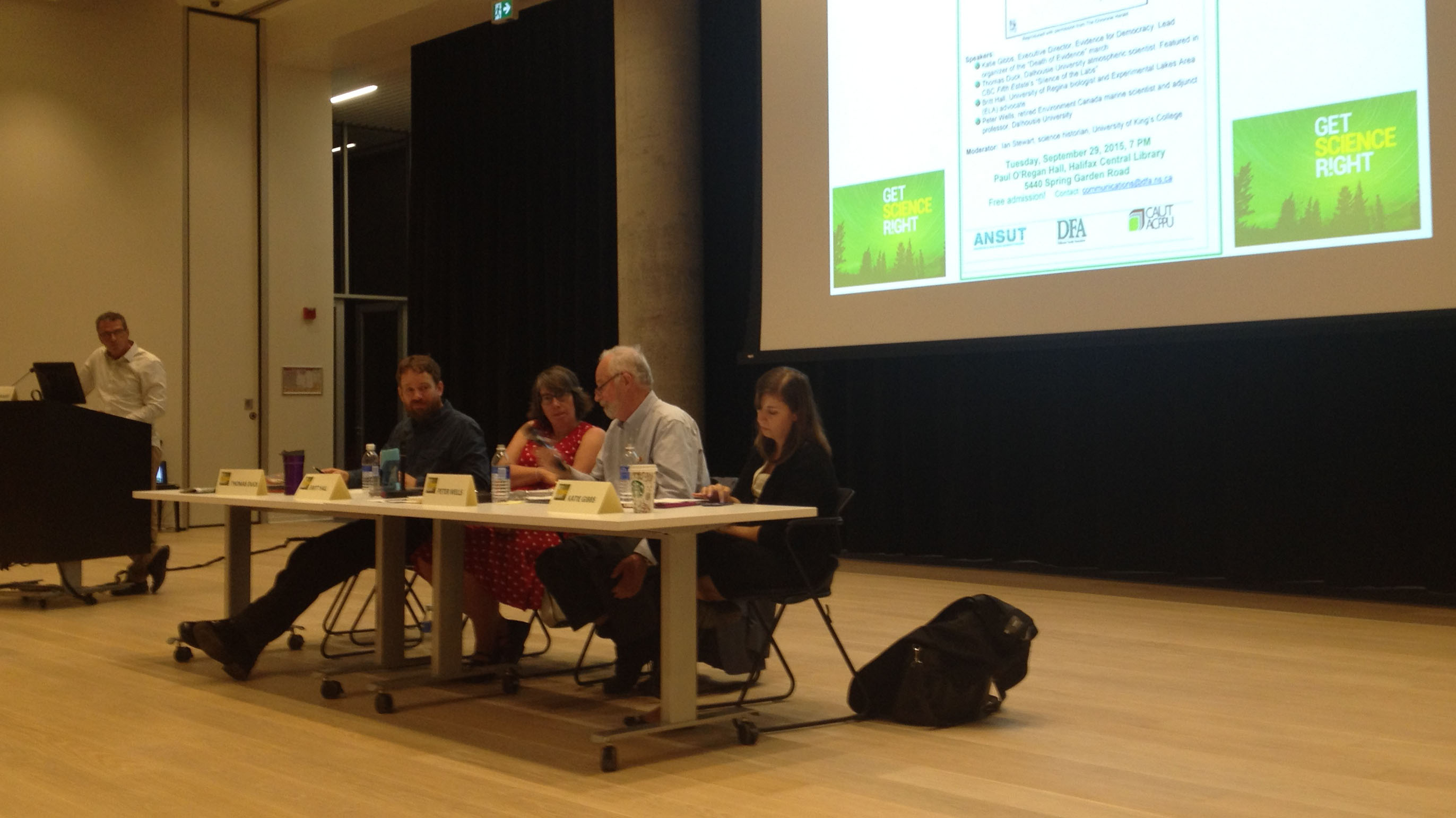 Panelists from the left: Thomas Duck, Britt Hall, Peter Wells and Katie Gibbs.