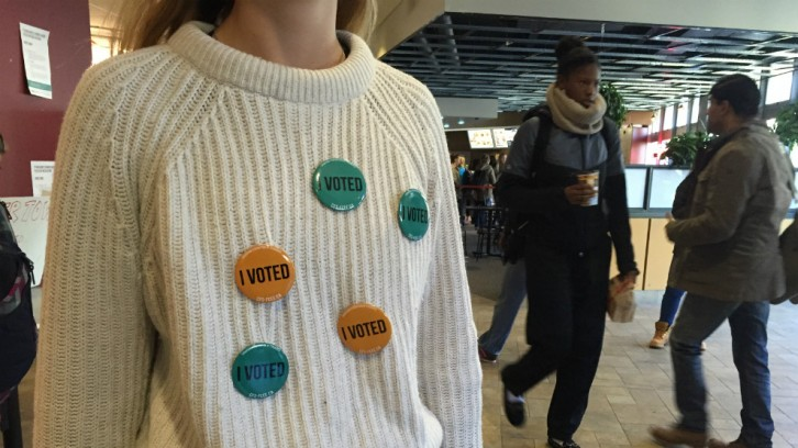 Pins were given out to celebrate voters