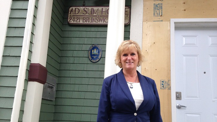 Kathy McNab outside Adsum House on Brunswick Street