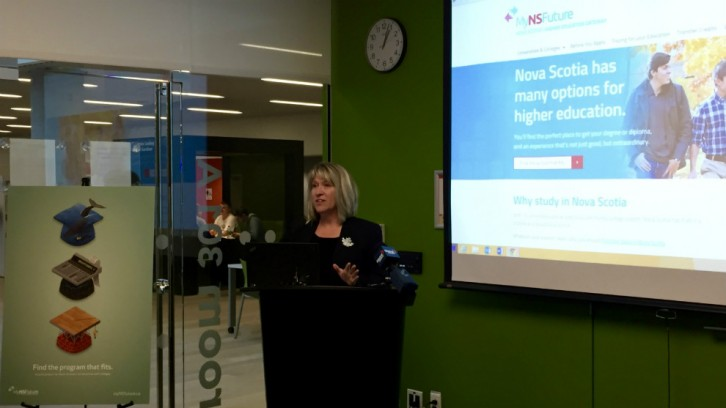 Advanced education minister, Kelly Regan, speaking at the launch event.