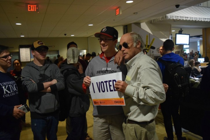 John Dunsworth, who plays Jim Lahey in comedy series Trailer Park Boys, encourages Dal voters on Thursday.