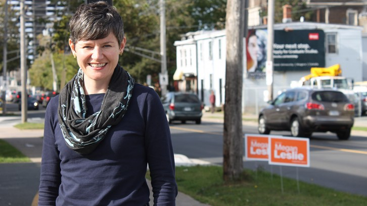 Leslie outside her campaigning office on Robie St.