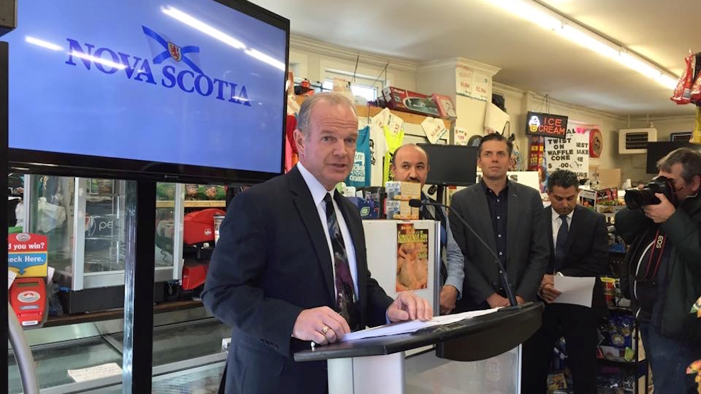 The minister of Service Nova Scotia Minister Mark Furey announcing a new service for convenience store businesses at Jubilee Junction Convenience.