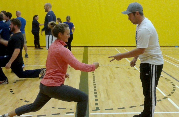 Two teachers learn how to make rock, paper, scissors more active at Nova Scotia's first Physical and Health Literacy Conference.