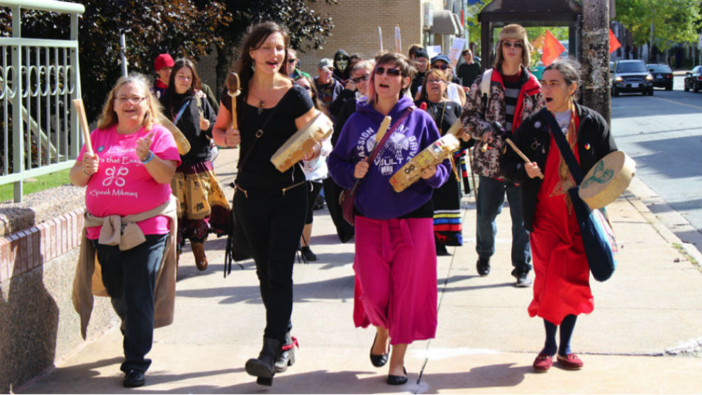 Women singing and drumming during the Sisters in Spirit march in Halifax Sunday