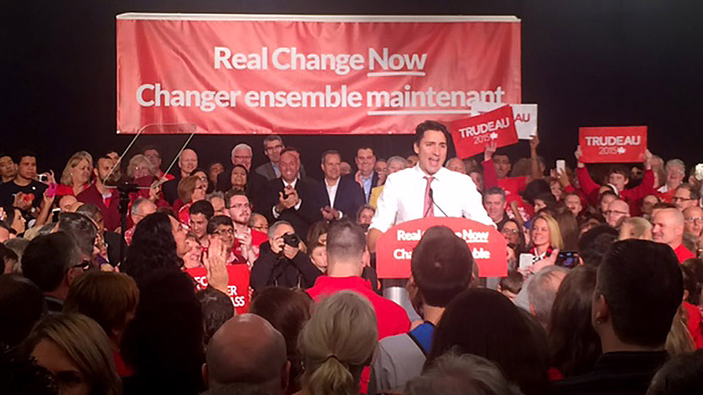 Justin Trudeau at the rally this morning.
