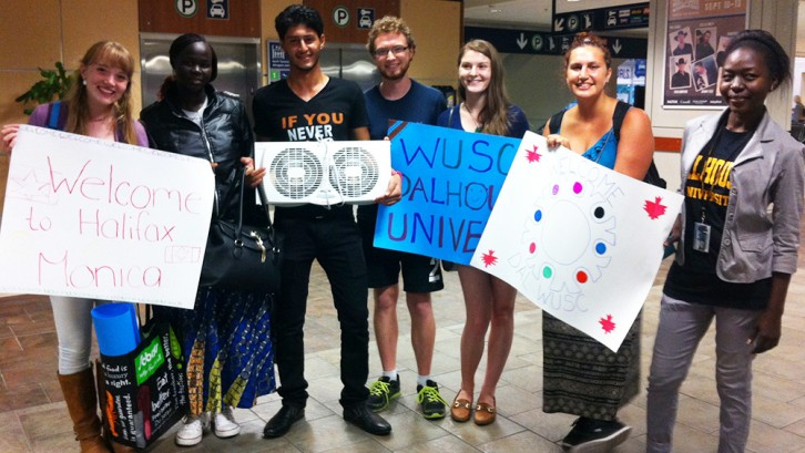 Members of WUSC Dalhousie welcome a student to Nova Scotia at Stanfield Internation Airport.