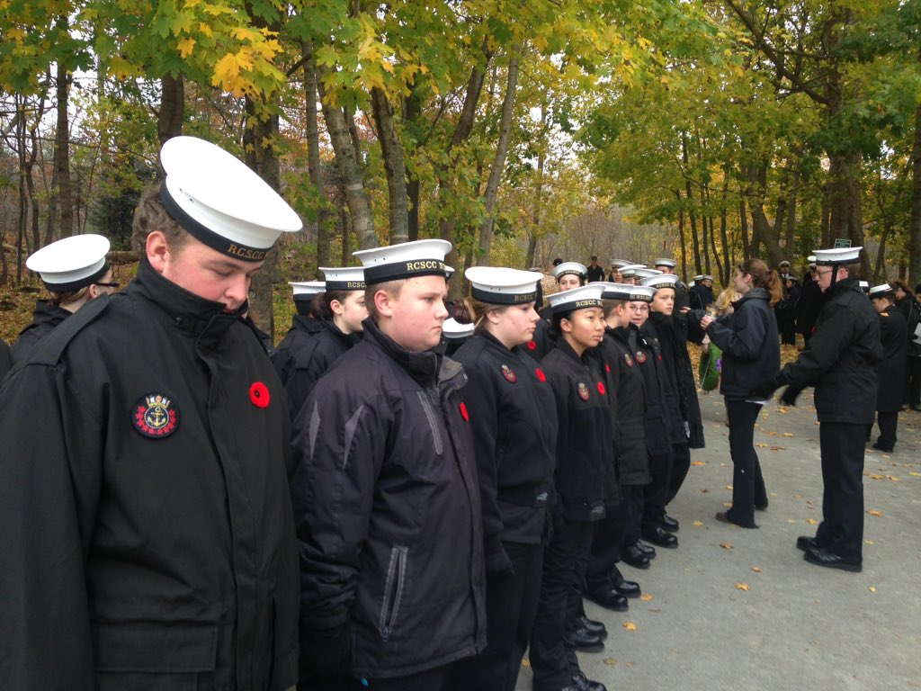 Nelson RCSCC cadets lining up for the ceremony at Point Pleasant Park.