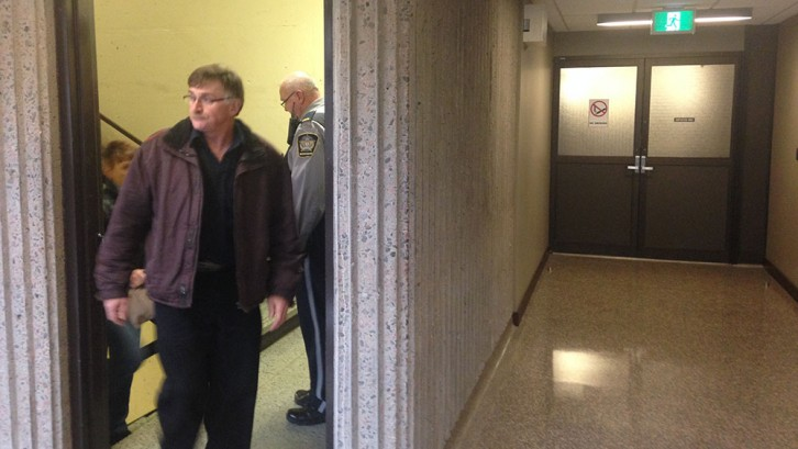 Paul Calnen heads to the court room to hear the closing arguments from the Crown and defence.