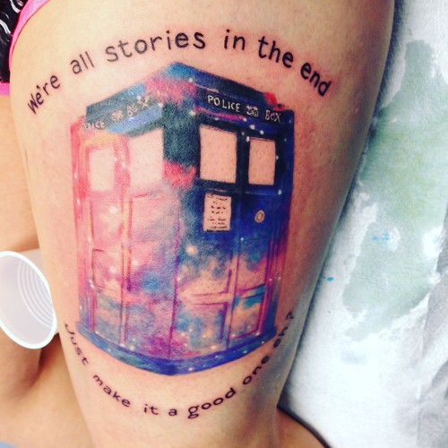 Kristie Delange recently got her fifth tattoo, an image of the TARDIS from Dr. Who