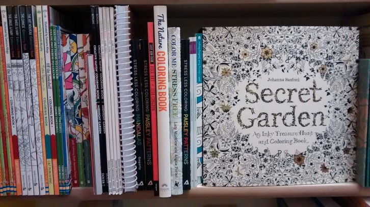Bookmark sells several adult colouring books, including Johanna Basford's popular collection