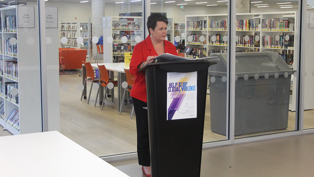 Minister of Community Services Joanne Bernard announcing Prevention Innovation grants, Halifax N.S.