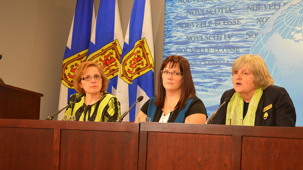 Left to Right: Minister of Immigration Lina Diab, Suzanne Ley and Gerry Mills detail Nova Scotia's plans to support refugees.
