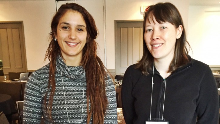 Laura Benestan (left) and Kristin Dinning (right) are students who have spent years working on Lobster research with the CFRN.