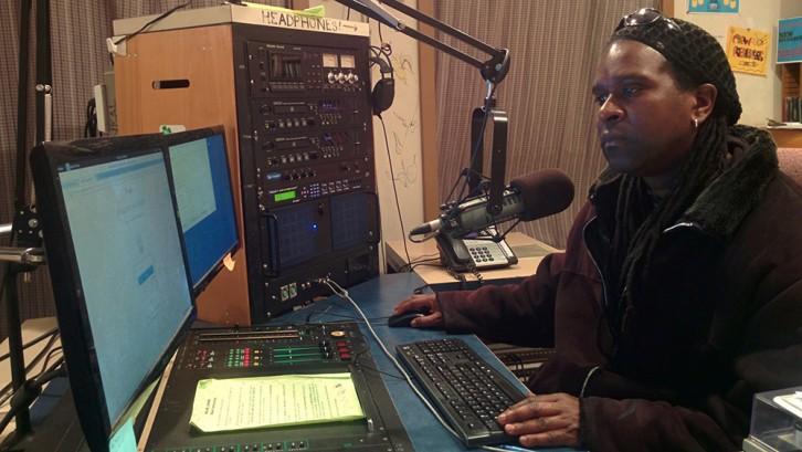 Sobaz Benjamin at work in the CKDU studio