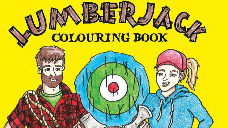 Darren Hudson and Erin Smith's upcoming colouring book cover features two lumberjacks