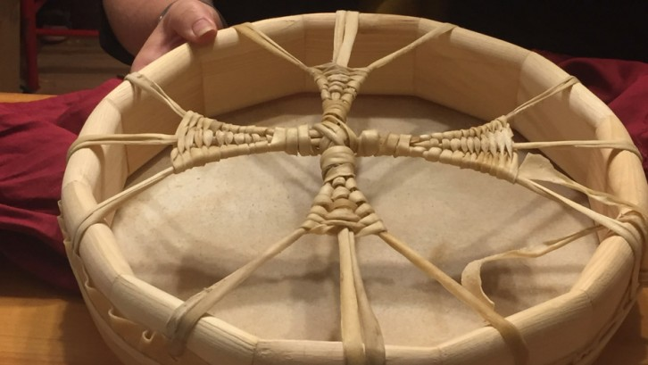 Renée Brown Munroe displays a drum she made at a retreat in Millbrook this fall.