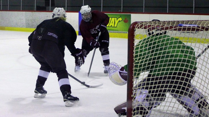 A SMU hockey player takes a shot on net during the women's team practice at Alumni Arena.