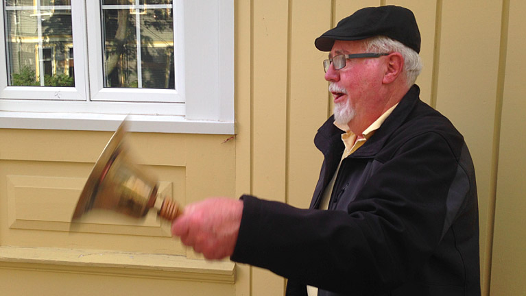 "Former Halifax town crier David Nimmo rings his bell and yells ""Oyez! Oyez! Oyez!"" on Coburg Road."