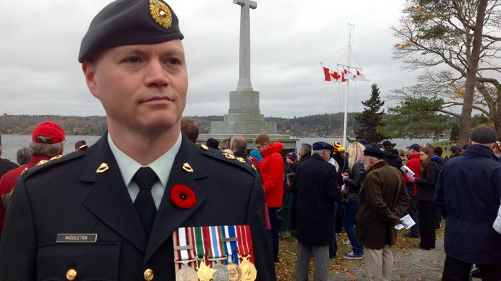 Lt.-Col. Chris Middleton at Point Pleasant Park memorial service