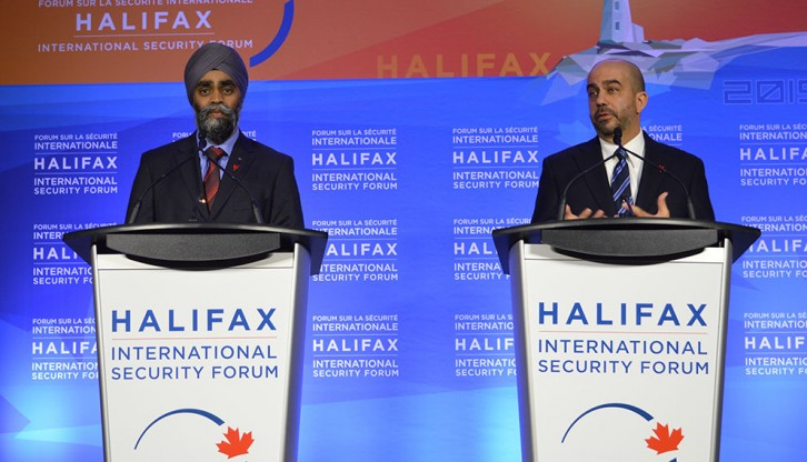(Left to Right) Minister of National Defence Harjit Sajjan and Peter Van Praagh opened the security forum with a press conference.