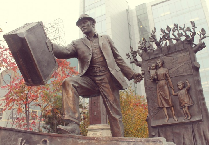The Emigrant statue on the Halifax waterfront.