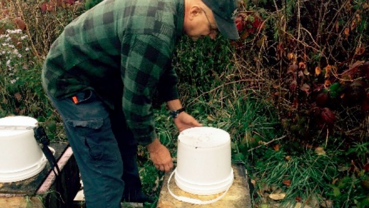 Owner Joe Goetz maintains a hive at Scotian Bee Honey in Windsor, N.S.