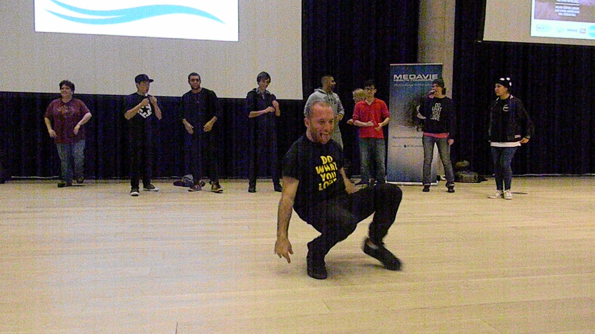 Unity founder Michael Prosserman danced during the event