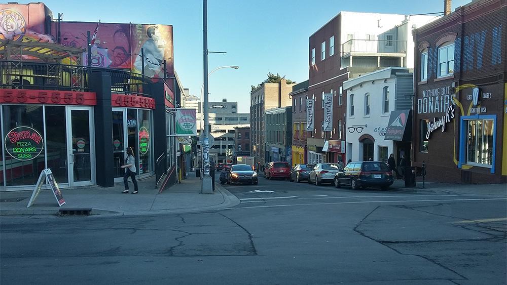 Two popular donair restaurants on Blowers Street in Downtown Halifax.