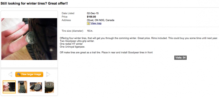 Steve Maltais decided to turn to Kijiji to sell his set of used winter tires.