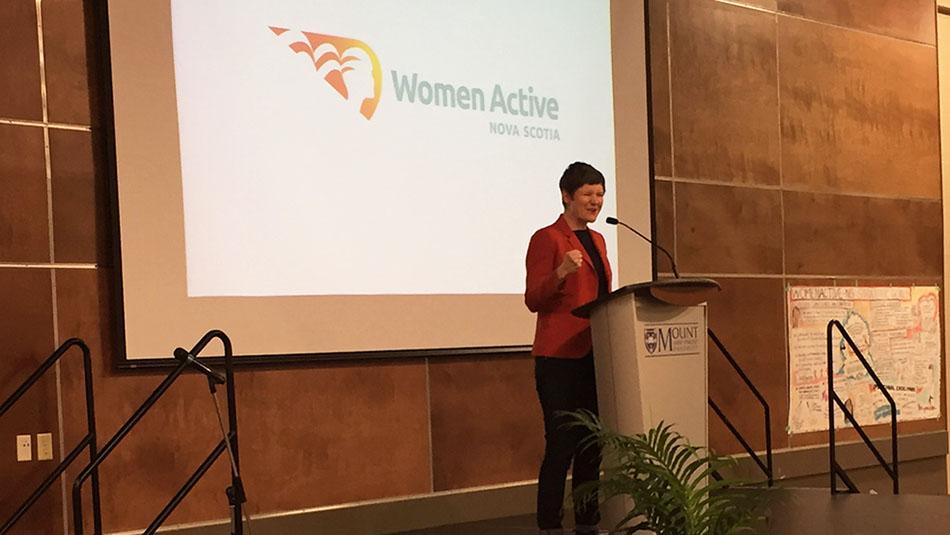Megan Leslie speaks at the launch of WomenActive Nova Scotia