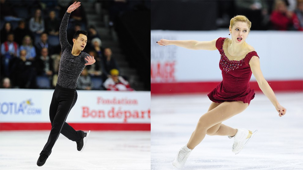 National Champions Patrick Chan (left) and Alaine Chartrand
