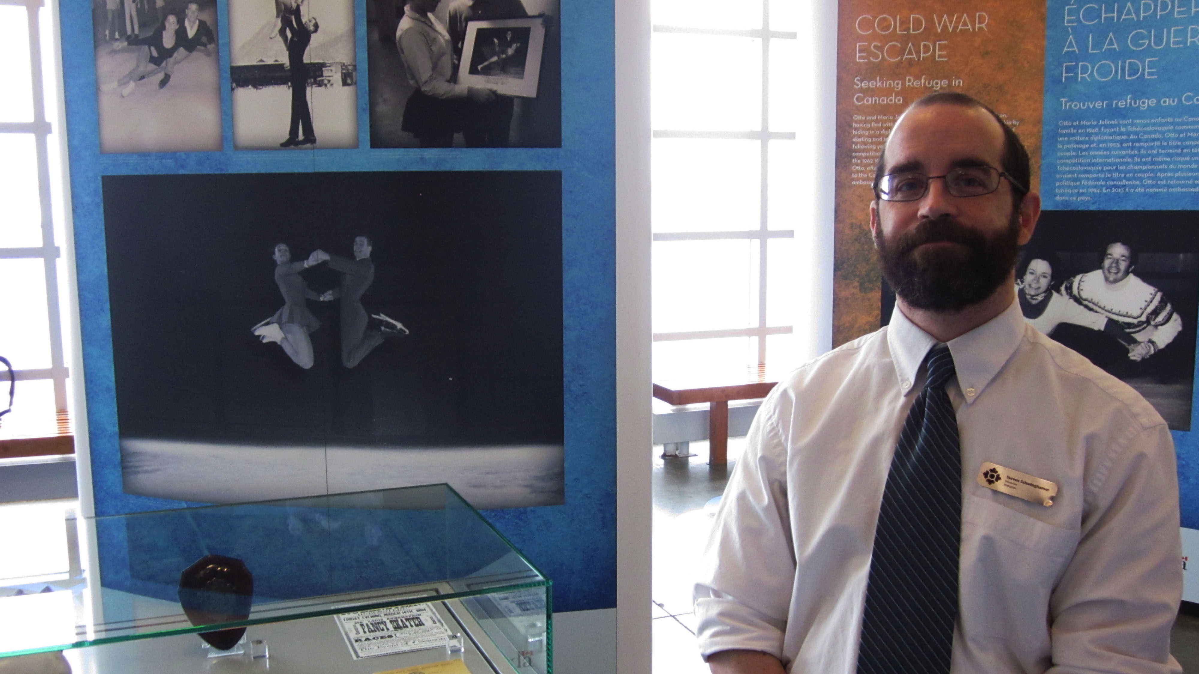 Steve Schwinghamer, historian at the Canadian Museum of Immigration at Pier 21, in the new Perfect Landings exhibit.