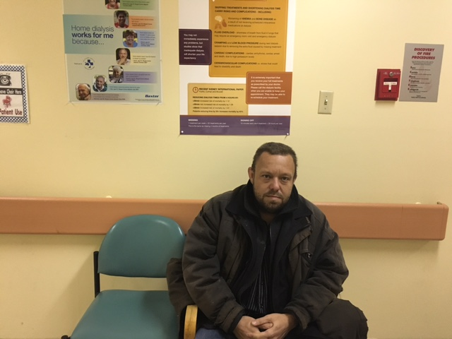 Nickerson sits in the waiting room before he goes in for dialysis.