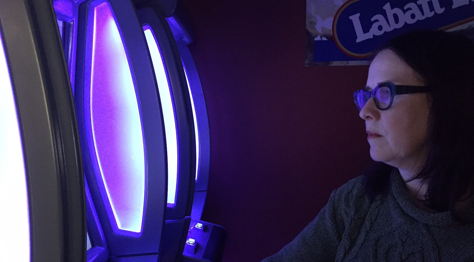Dr. Sherry Stewart faces a VLT at the Gambling Lab, Dalhousie University.