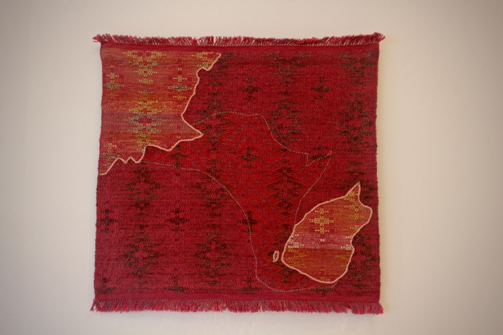 A handwoven map made by Rilla Marshall.
