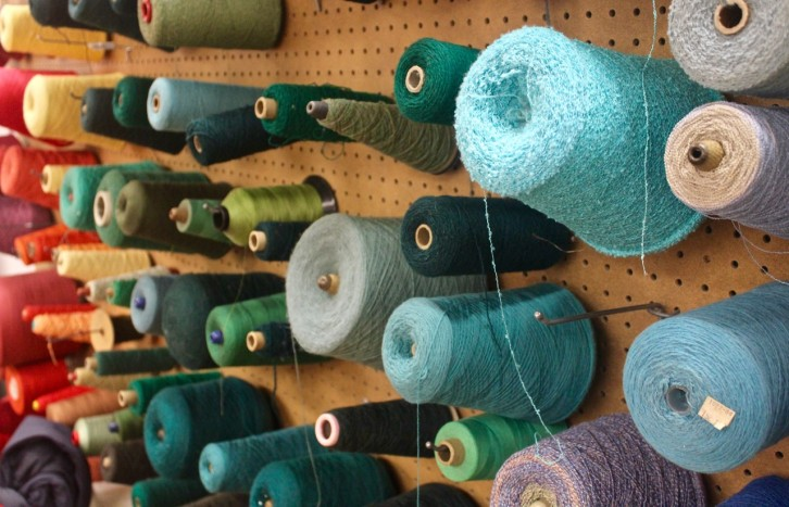 Yarn used for weaving at NSCAD University.