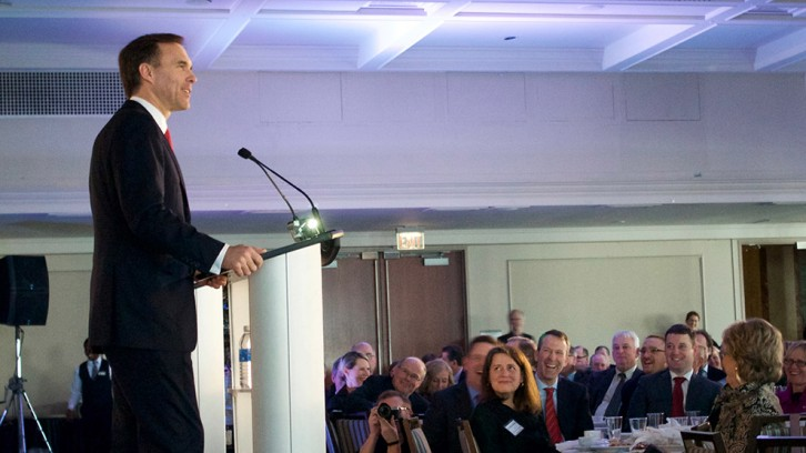 Finance Minister Bill Morneau speaks at a lunch event in Halifax, N.S., on Jan. 11, 2016
