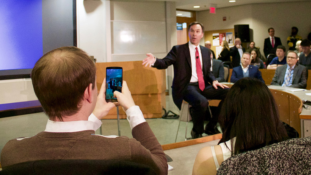 Students listen to Finance Minister Bill Morneau during a public pre-budget consultation at Dalhousie University on Jan. 11, 2016