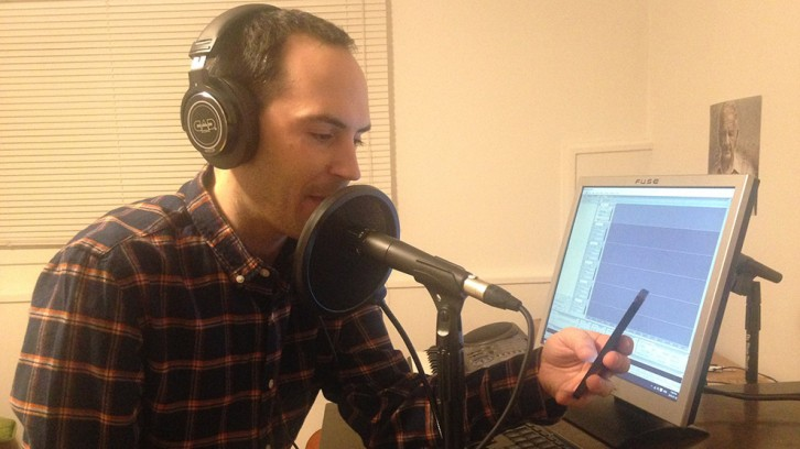 Jordan Bonaparte records his intro to the next episode of Night Time Podcast.
