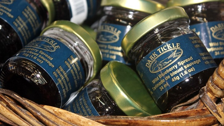 Regional wild blueberry spread sold downtown at Jennifer's of Nova Scotia.