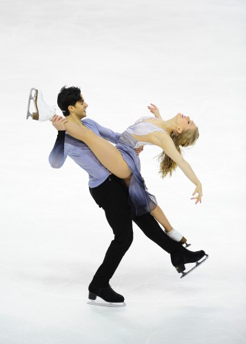 Kaitlyn Weaver and Andrew Poje during their free skate program in the ice dance category