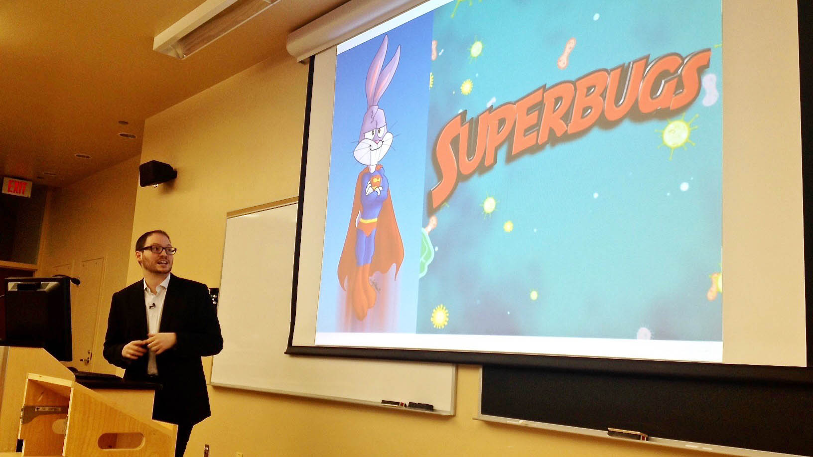 "International lawyer Steven Hoffman tries to lighten the mood with a ""cuter superbug."""